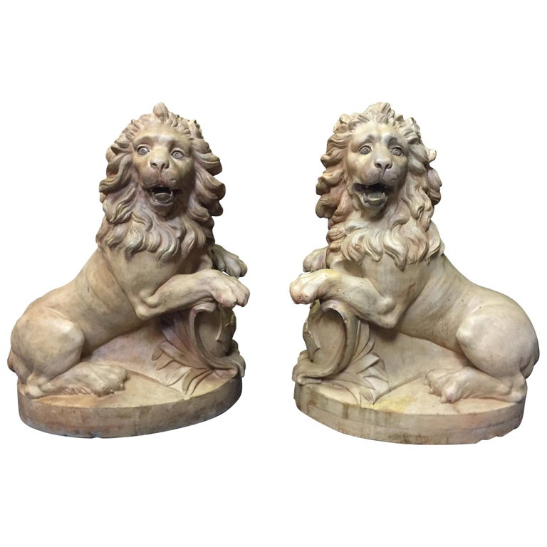 Pair of French Terracotta Lions, 19th Century Stamped For Sale