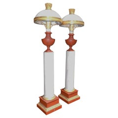 Pair of French Tole and Faux Marble Column Table Lamps, Originally Oil, C 1820