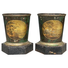Pair of French Tole Cache Pots
