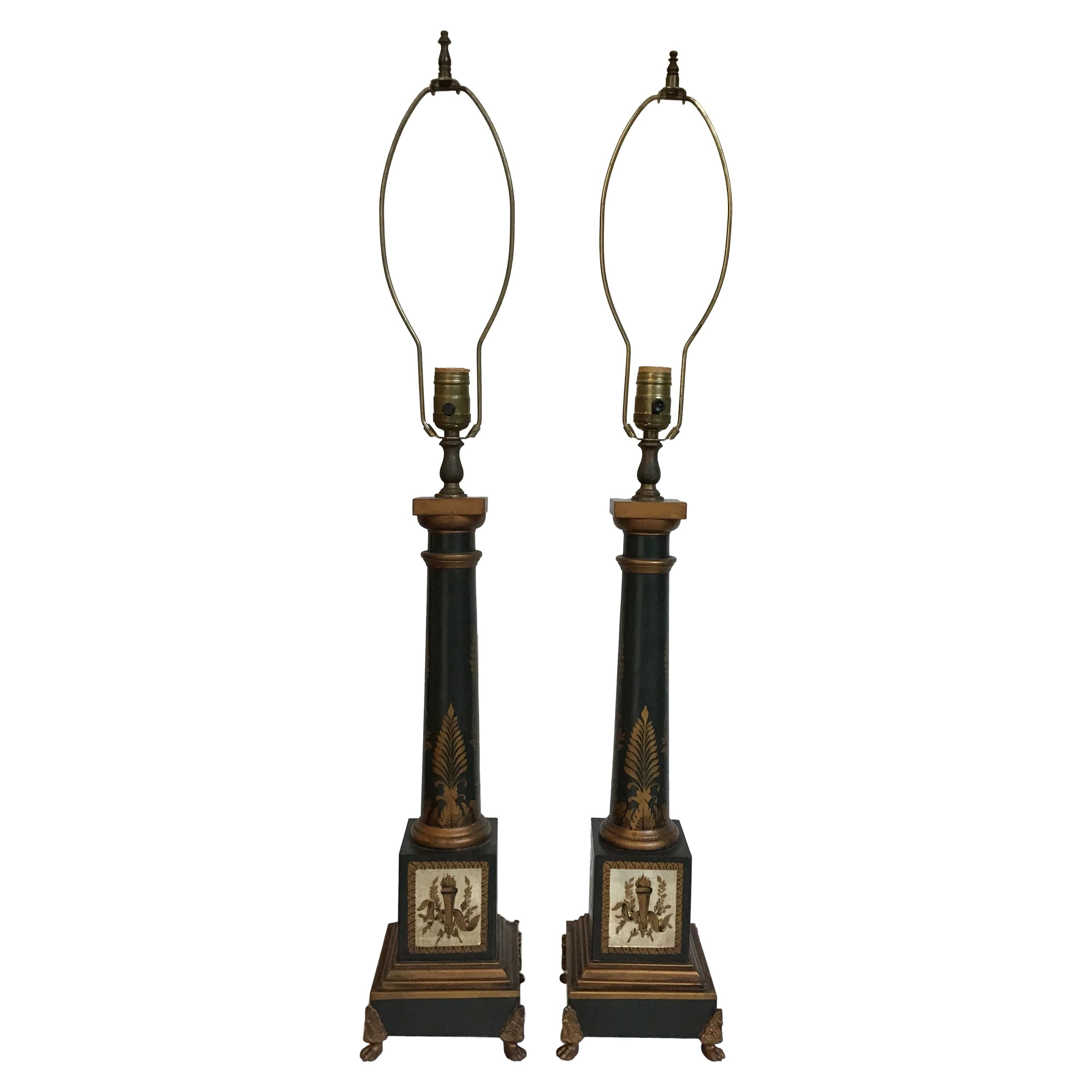 Pair of French Tole Classical Lamps