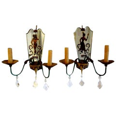 Pair of French Tole, Églomisé and Crystal Sconces