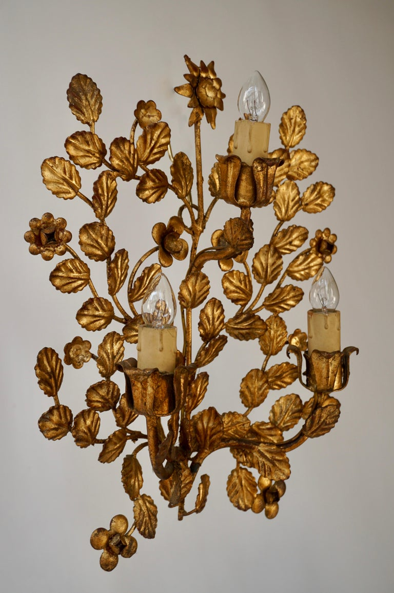 A pair of French toleware gilded wall lights.  These are very pretty wall lights, the brass sconces are decorated with flowers and curled leaves.  Height 38 cm. Width 28 cm.
