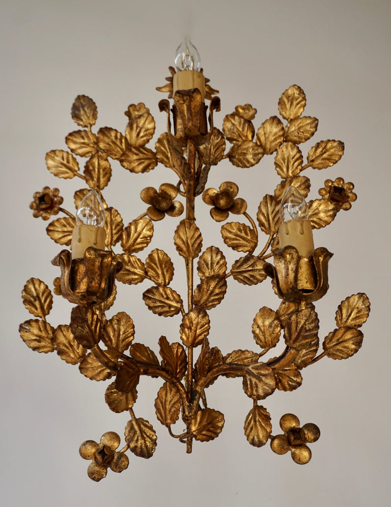 Gilt Pair of French Toleware Gilded Wall Lights For Sale
