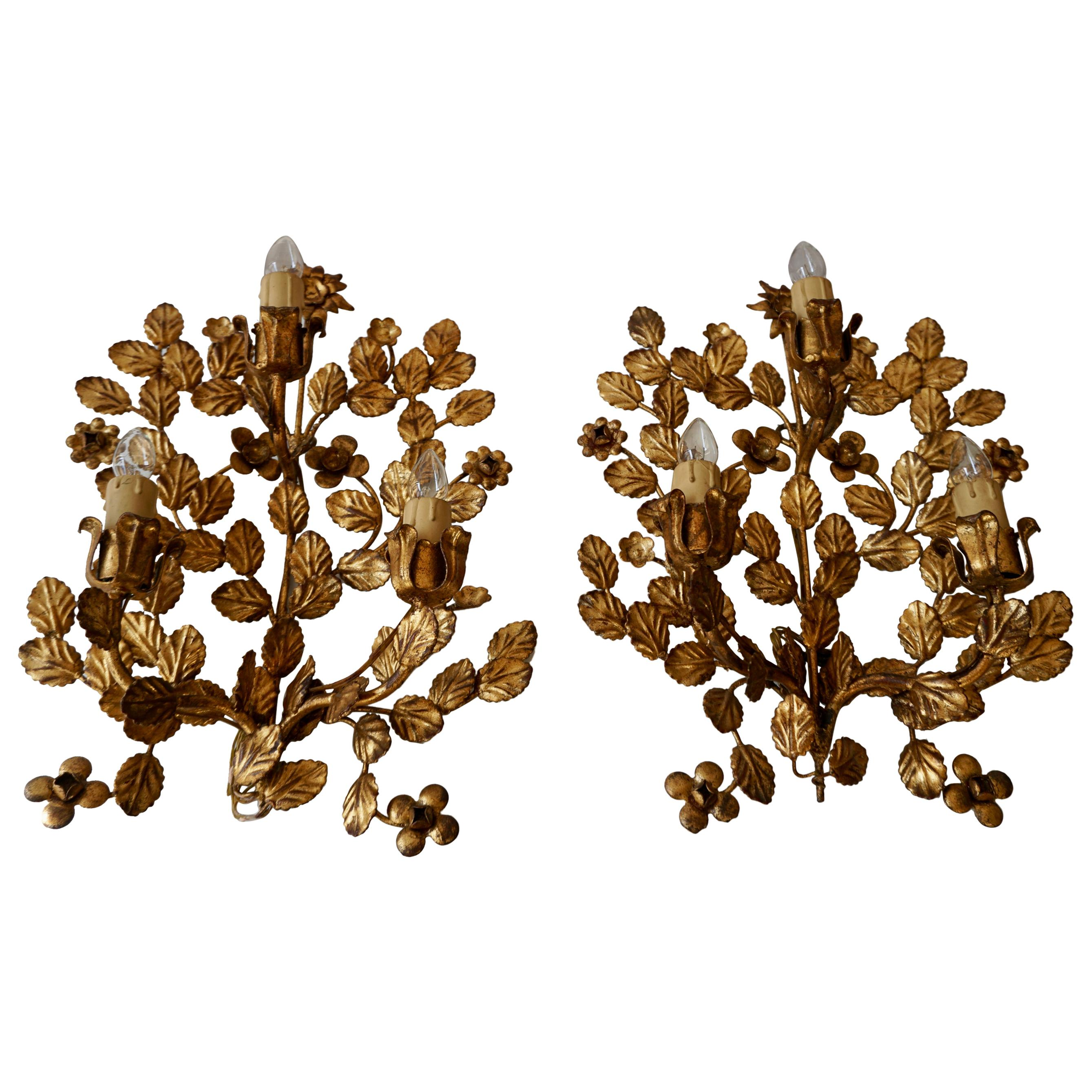 Pair of French Toleware Gilded Wall Lights