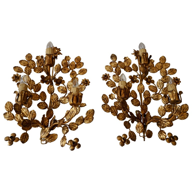 Pair of French Toleware Gilded Wall Lights For Sale