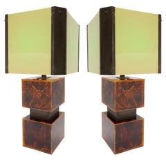 Pair of French Tortoise Shell Pattern Acrylic Table Lamps, 1970s