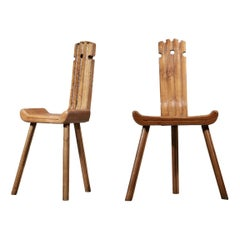 French Tripod Chairs from the 1960s Oak Rustic Style of Charlotte Perriand, Pair