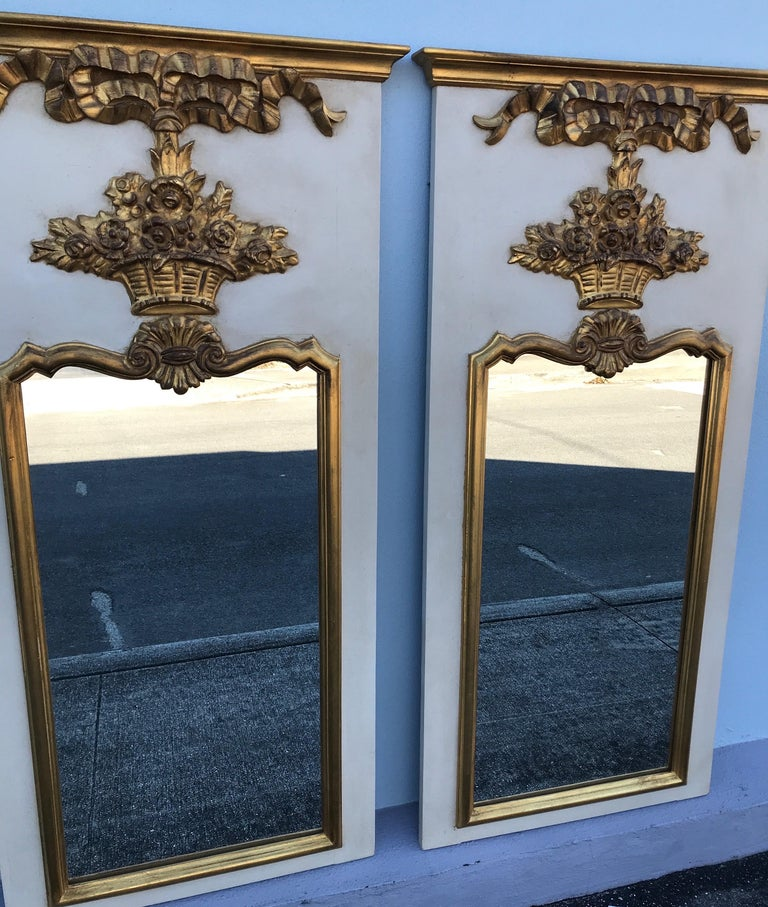 Giltwood Pair of French Trumeau Style Mirrors by Carvers Guild For Sale