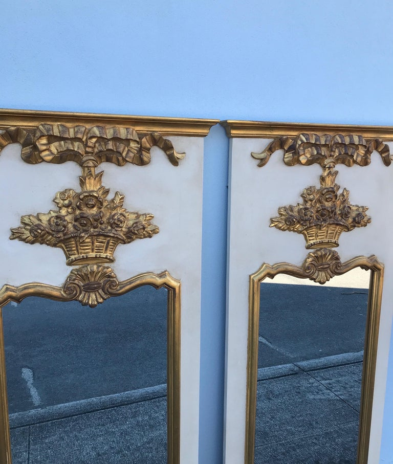 Pair of French Trumeau Style Mirrors by Carvers Guild For Sale 1