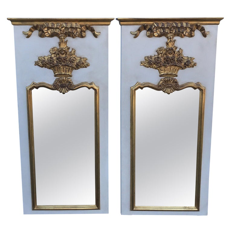 Pair of French Trumeau Style Mirrors by Carvers Guild For Sale