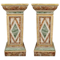 Pair of French Turn of the Century Faux Marble Painted Wood Pedestals