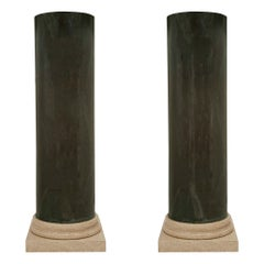Pair of French Turn of the Century Neoclassical Style Faux Painted Columns