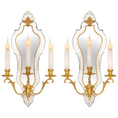 Pair of French Turn-of-the-Century Venetian Style Ormolu and Mirrored Sconces