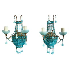 Pair of French Turquoise Colored Basket Beaded Sconces, C. 1930's