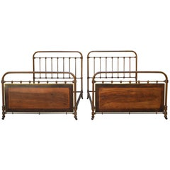 Pair of French Twin Beds, Cast Iron Fake Wood, Brass and Marquetry, circa 1910