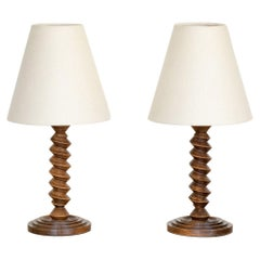 Pair of French Twisted Wood Lamps