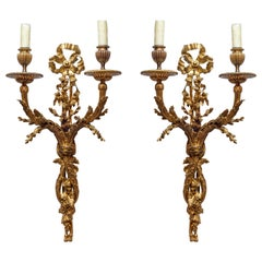 Pair of French Two-Arms Ormolu Wall Light Sconces
