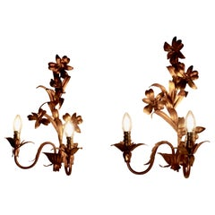 Pair of French Two Branch Toleware Gilded Wall Lights