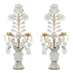 Pair of French Two-Light Gilt Bronze Carved Rock Crystal Foliage Wall Sconces
