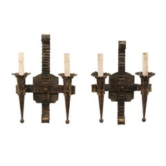 Pair of French Two-Light Hand-Forged Iron Mid-Century Sconces with Torch Shapes