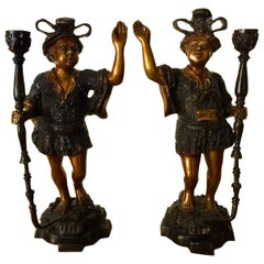 French Pair of Two-Toned Patinated Bronze Moorish Inspiration Candleholders