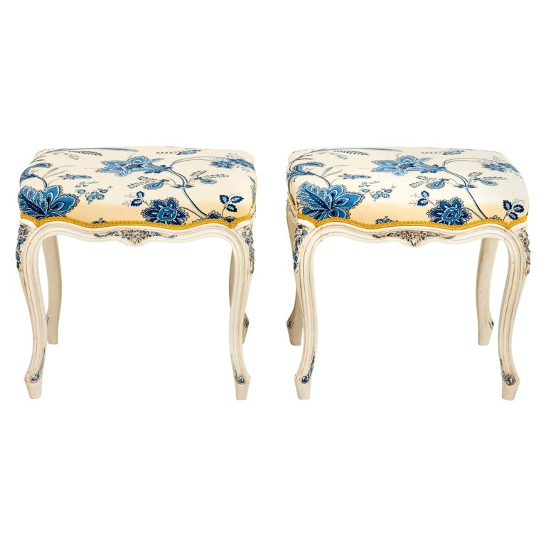 Pair of French Upholstered Benches For Sale