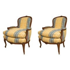 Pair of French Upholstered Bergere Chairs