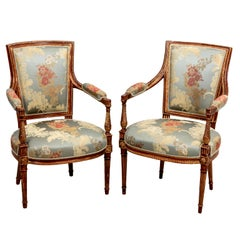 Pair of French Upholstered Open Armchairs