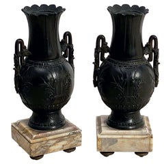 Pair of French Vases with Marble Bases from the Belle Époque 'Priced as a Pair'