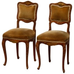 Pair of French Vernis Martin Style Hand Painted Boudoir Chairs, circa 1890