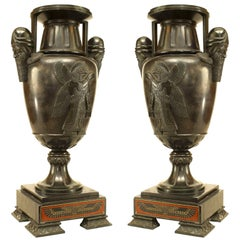 Pair of French Victorian Black Marble and Bronze Urns