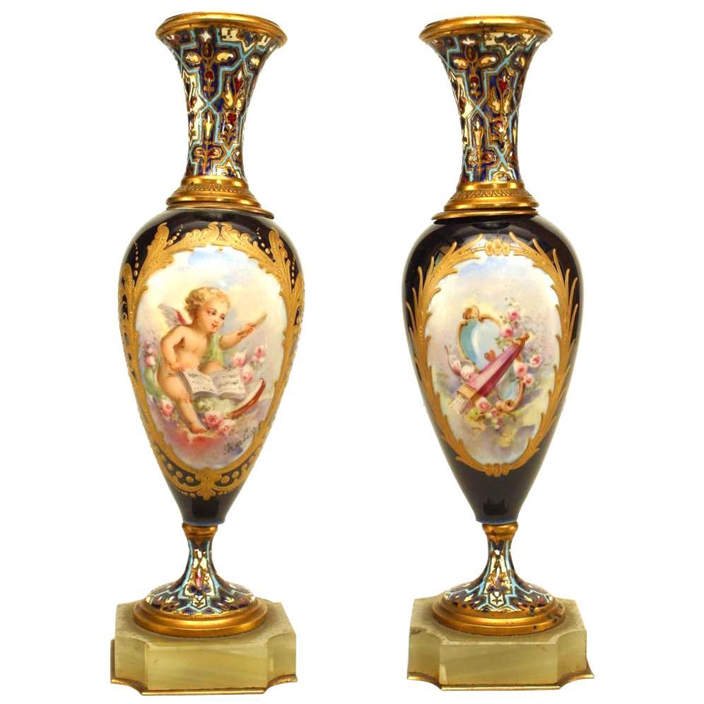 Pair of French Victorian Blue Sevre Porcelain Vases