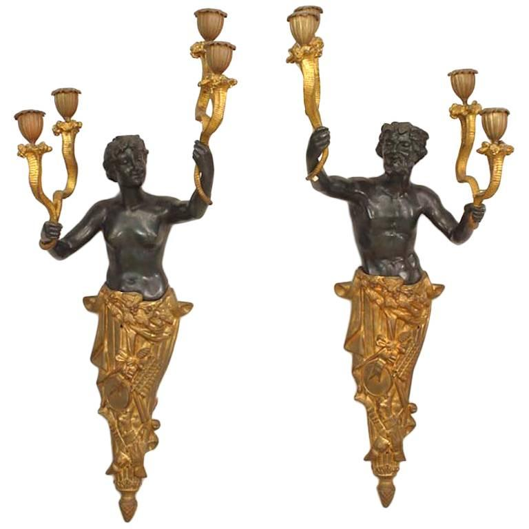Pair of French Victorian Bronze Figural Wall Sconces