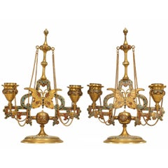 Pair of French Victorian Bronze Doré and Enamel Double Arm Candelabra
