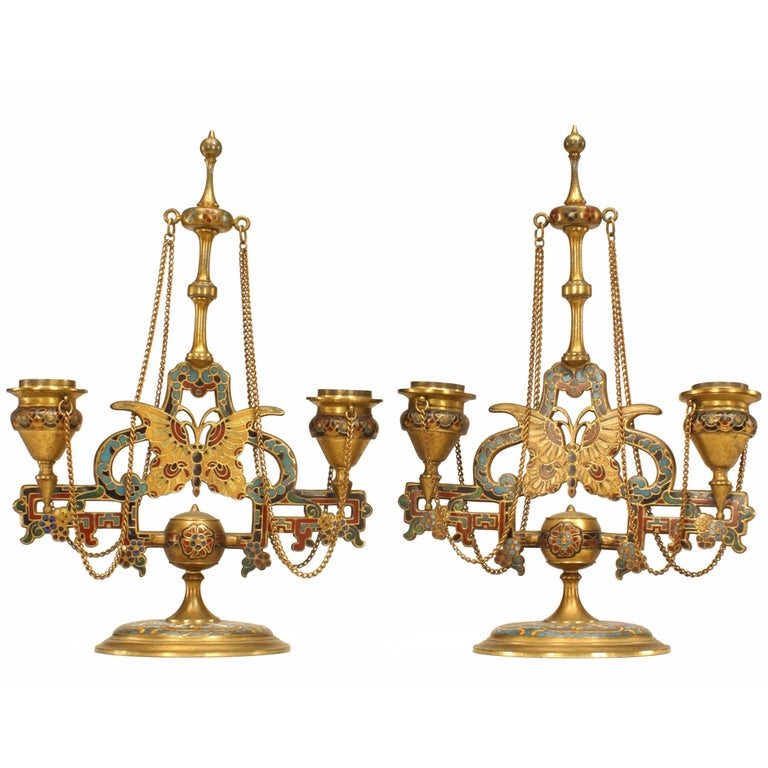 Pair of French Victorian Double Arm Candelabra