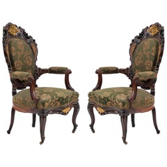 Pair of French Victorian Carved Rosewood Armchairs