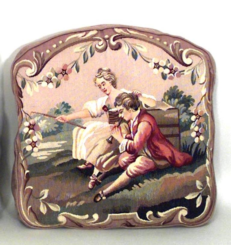 Pair of French Victorian cushions with arch design top and scenes of boy and girl.