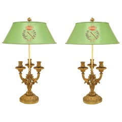 Pair of French Victorian Gilt Bronze Three-Arm Bouillotte Lamps