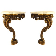 Pair of French Victorian Gilt Carved Bracket Consoles