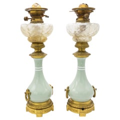 Pair of French Victorian Porcelain Oil Lamps