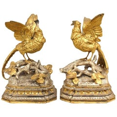 Pair of French Victorian Silver and Gilt Bookends