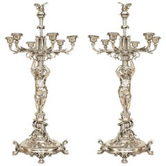 Pair of French Victorian Silver Plated Candelabras