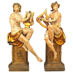 Pair of French Victorian Stripped Lifesize Carved Figures