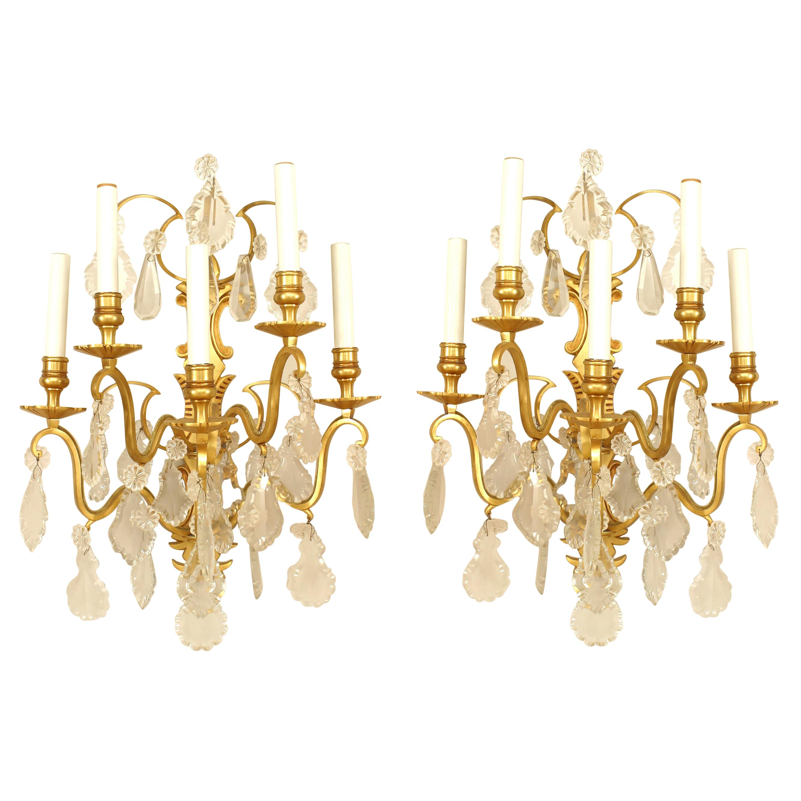 Pair of French Victorian Style Crystal Wall Sconces