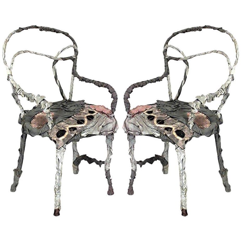 Pair Of French Victorian Style Fantasy Furniture Open Scroll Armchairs