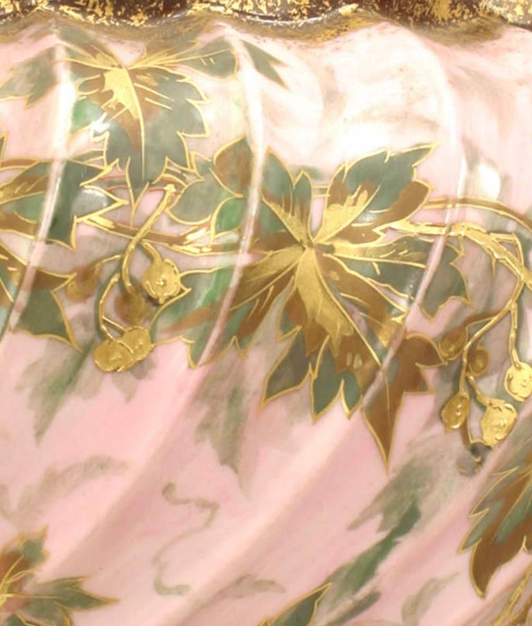 20th Century Pair of French Victorian Style Floral Fluted Design Cachepots For Sale