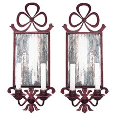Pair of French Victorian Style Red Tole Bow Knot Wall Sconces