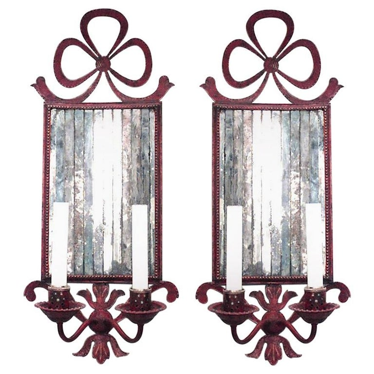 Pair of French Victorian Style Red Tole Bow Knot Wall Sconces For Sale