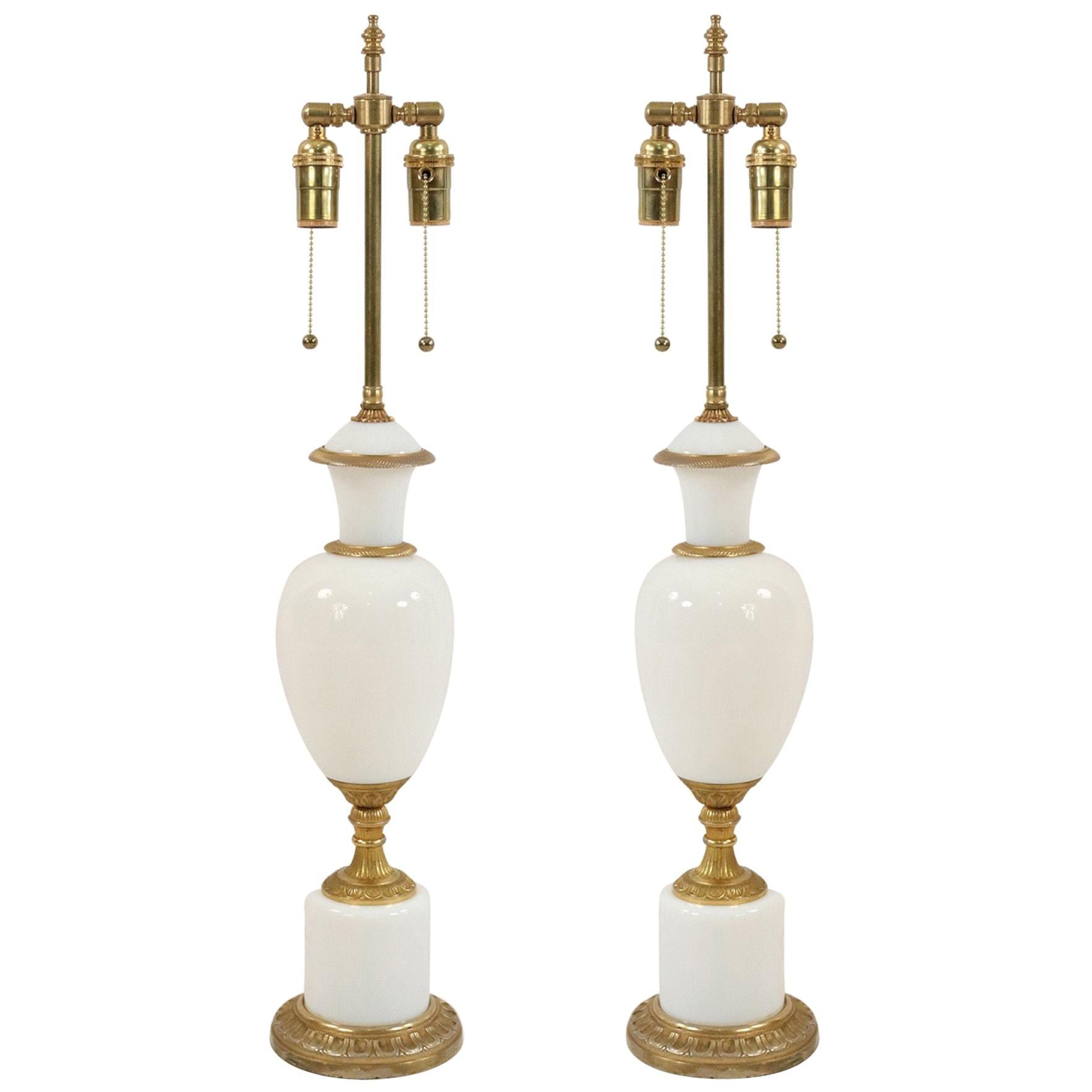 Pair of French Victorian Style White Opaline Glass Table Lamps