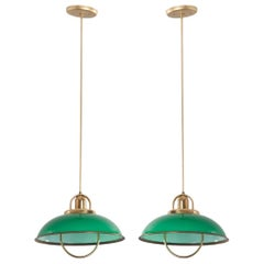Pair of French Vintage Art Deco Green Glass and Brass Pull-Down Lights